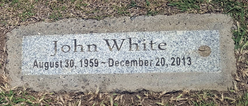 sign headstone john white