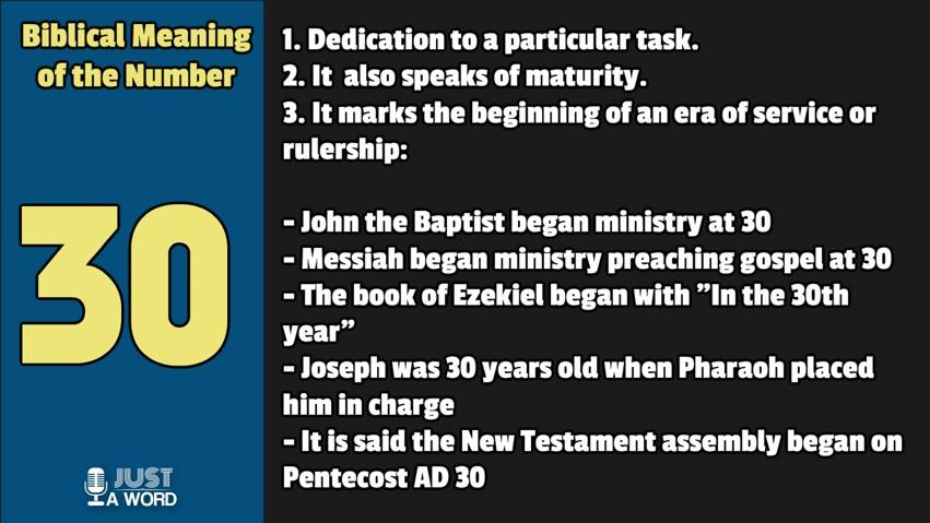 Biblical Numerology - Number 30