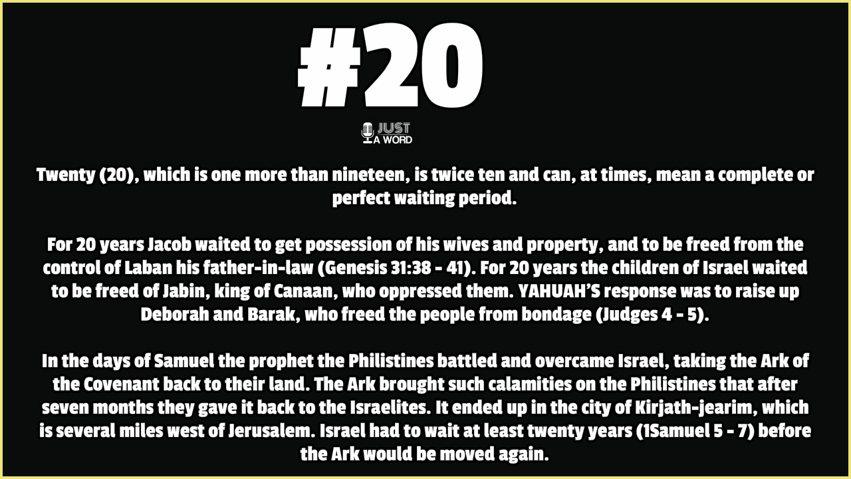 Biblical Numerology number 20
